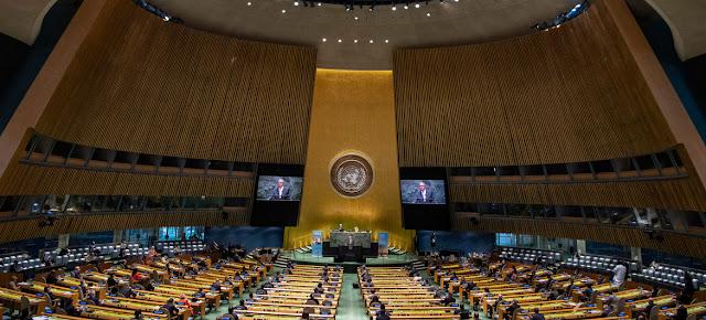 ARCHIVO: Los delegados presentes en la Asamblea General deben mantener el distanciamiento físico.ONU/Eskinder Debebe