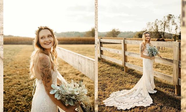long hair bride outside wedding