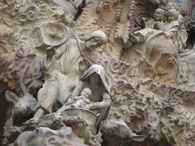 Birth of Christ facade of Sagrada Familia in Barcelona