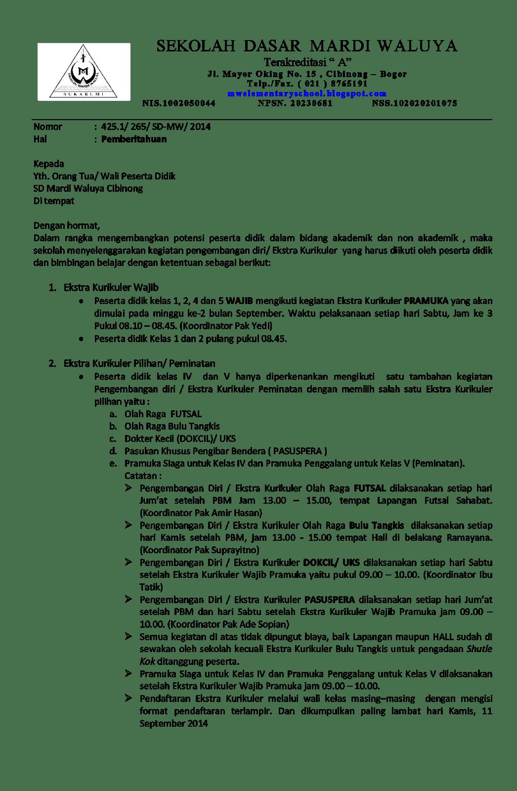 Contoh Surat Pemberitahuan Kegiatan Ekstrakurikuler