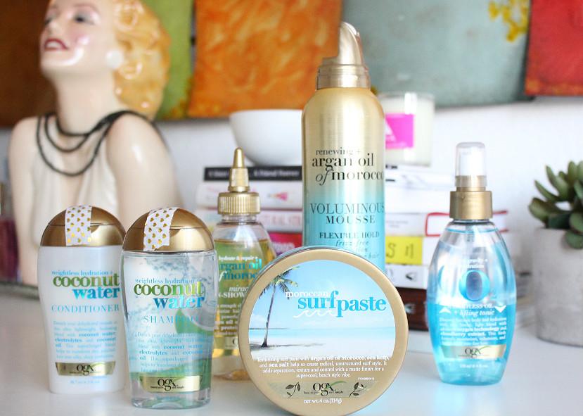 ogx coconut water shampoo, ogx coconut water conditioner, ogx moroccan surf paste, ogx voluminous mousse