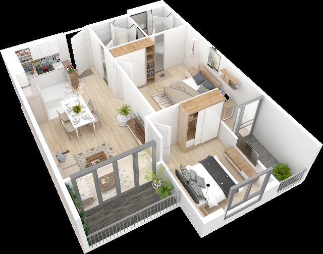 ví dụ 1 căn hộ dự án Samsora Premier 105