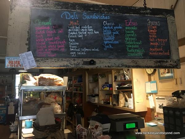 board menu at Duncans Mills General Store in Duncans Mills, California
