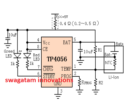 Lithium Ion Battery >> Li-Ion Battery Charger Circuit using IC TP4056 - Constant ...