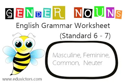 CBSE Class 6 - English Grammar -  Gender Nouns (Worksheet)(#eduvictors)(#englishgrammar)(#cbse2020)