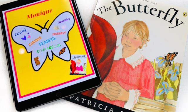 Image of The Butterfly book and iPad using Pic Collage for Character Traits