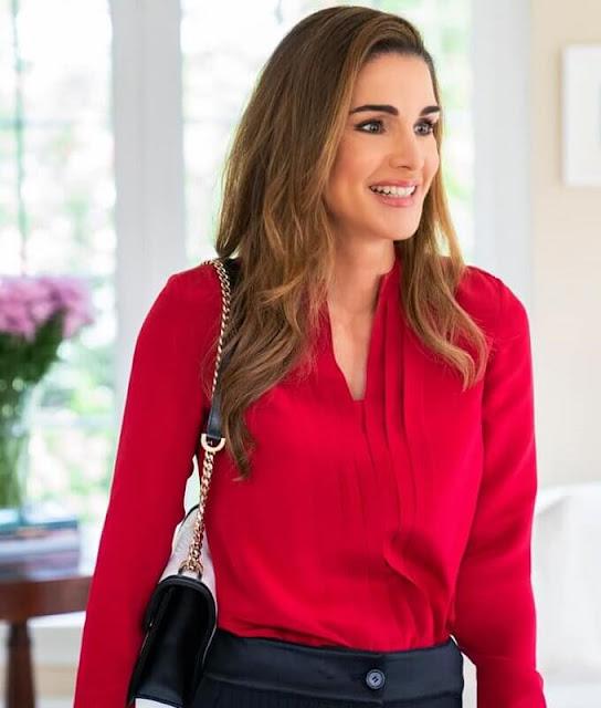 Bulgari Serpenti diamond blast shoulder bag, Dior black suede pumps, red silk blouse, Christopher Kane blouse
