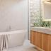 Banheiro contemporâneo lindo e diferente com jardim de inverno, banheira de imersão e mármore gioia!