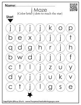 Letter J dot markers free preschool coloring pages ,learn alphabet ABC for toddlers