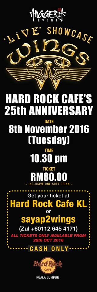 Event WINGS Live Showcase Hard Rock Cafe | 8 November 2016