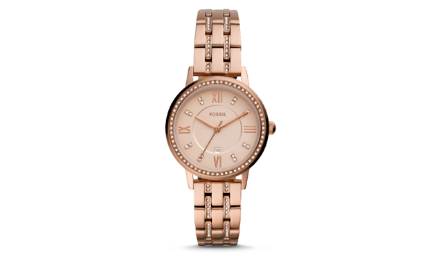 Fossil Gwen Three-Hand Date Rose Gold-Tone Stainless Steel Watch ES4879