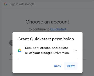 vb.net google drive api v3 OAuth 2.0 Quick Start Example Permission