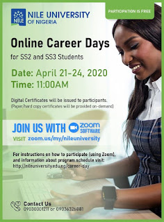 Nile University Online Career Days Programme 2020 [SS2 & SS3]