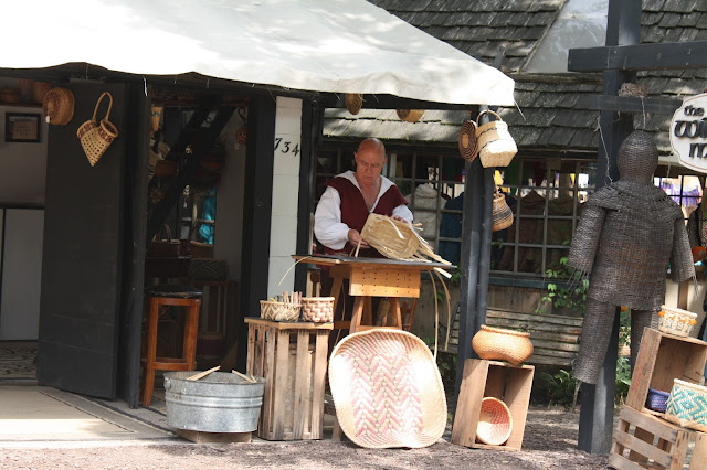 Basket weaver crafting at Bristol Renaissance Faire