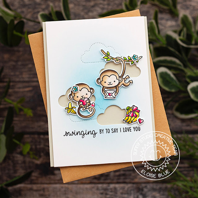 Sunny Studio Stamps: Love Monkey Fluffy Clouds Border Dies Punny I Love You Card by Eloise Blue