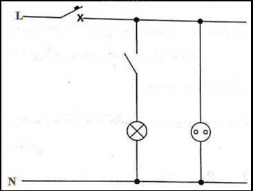 دائرة بريزة ومفتاح للتحكم في تشغيل لمبة