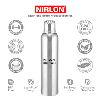 Amazon- Buy Nirlon Stainless Steel Water Bottle, 400ml, Silver (freezer bottle400ml) at Rs 151