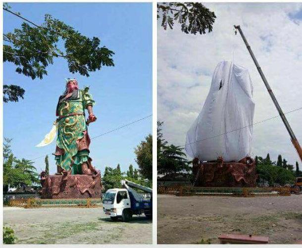 Viral! Patung Dewa Raksasa di Tuban Ditutup Kain Putih, Netizen