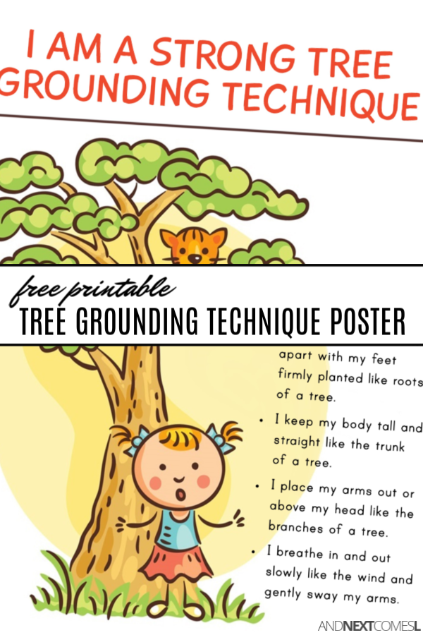Be a tree grounding technique for kids with a free printable poster