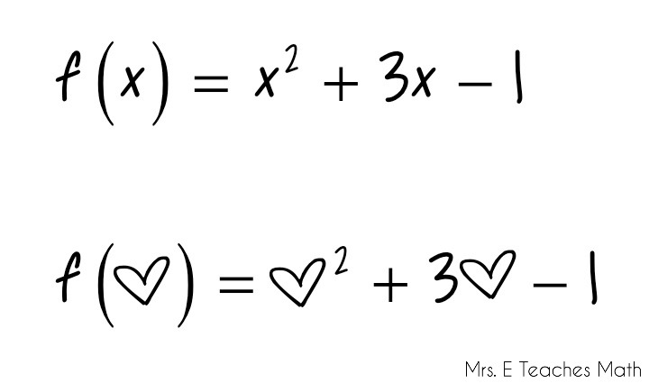 How I Teach Function Notation - using hearts and smiley faces to make it painless  |  mrseteachesmath.blogspot.com