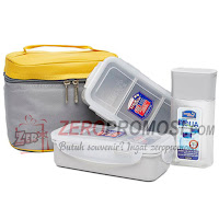 Lock & Lock Lunch Box 3 Pcs Set with Basic Pattern Bag HPL758S3CG