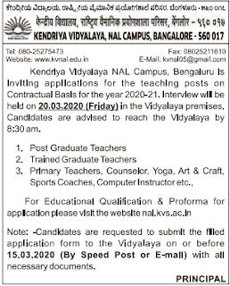 Kendriya Vidyalaya Bangalore Teacher Jobs