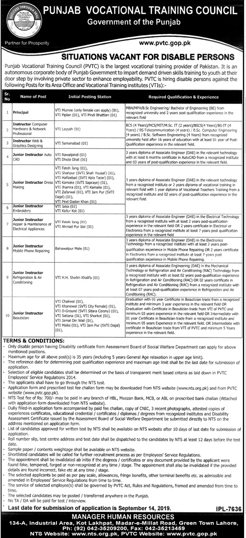 New Jobs In Punjab Vocational Training Council 27 Aug 2019