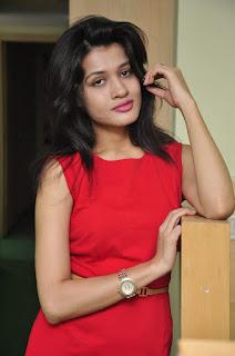 Actress Kimaya Stills in Red Dress at DJ Lemon Holi Poster Launch  0015