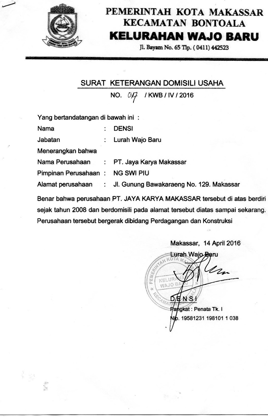 Pt Jaya Karya Makassar Surat Keterangan Domisili Usaha Pt Jaya Karya Makassar