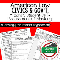 American Law, Civics and Government I Cans, Self-Assessment of Mastery, Student Ownership of Learning