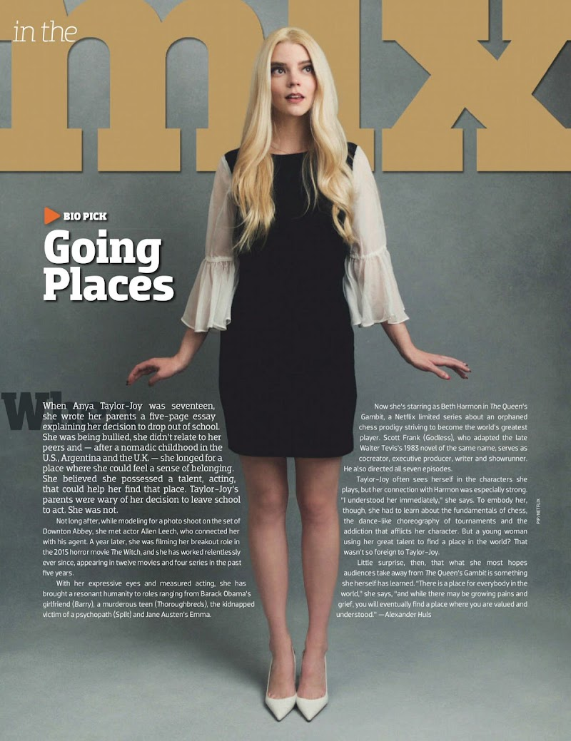 Anya Taylor-Joy Featured in Emmy Magazine - November 2020