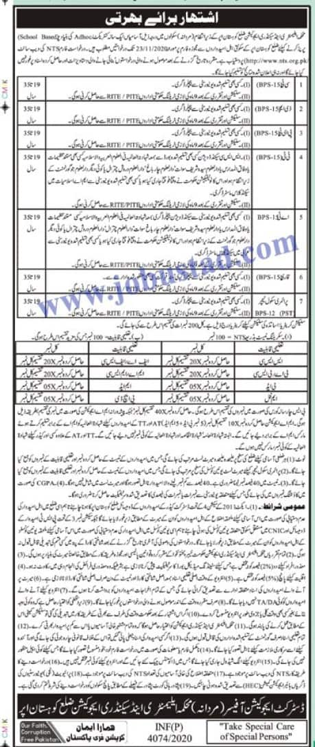 Elementary and Secondary Education Department KPK Jobs Via NTS Apply
