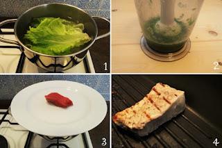 Foto preparazione Ricetta tagliata di manzo morbida con crema di lattuga per bambini