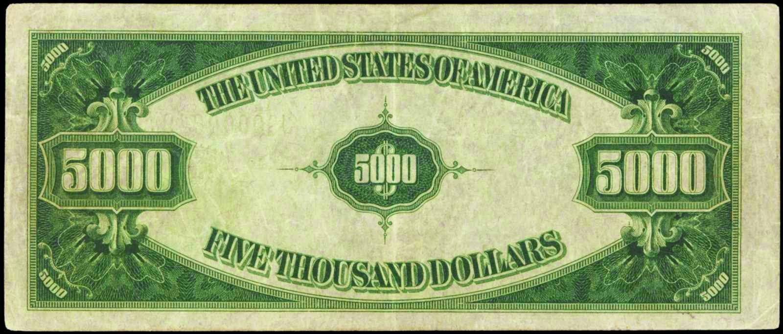 US Paper Money Five Thousand Dollar Bill Value