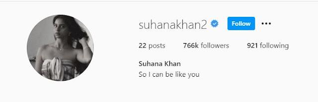 Suhana khan Social media facebook instagram