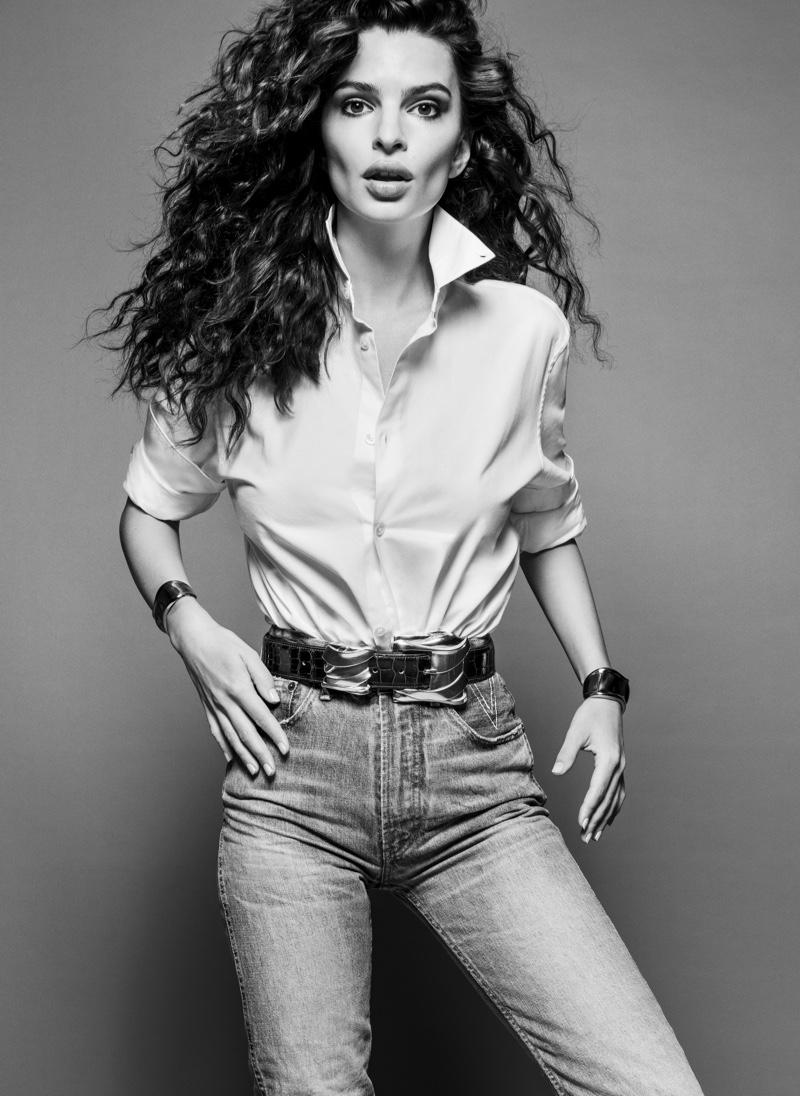 Emily Ratajkowski wears jeans from Lois Jeans + V Denim. Image: Courtesy of V Magazine / Inez & Vinoodh