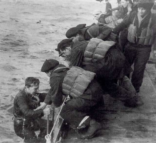 British crewmen being rescued by men of Italian gunboat Circe, 13 February 1942 worldwartwo.filminspector.com