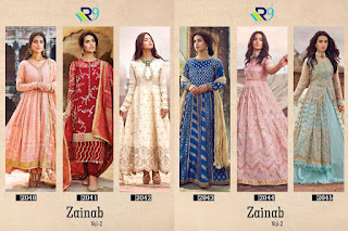 R9 Designer Zainab vol 2 Satin Cotton Pakistani Suits In Wholesale