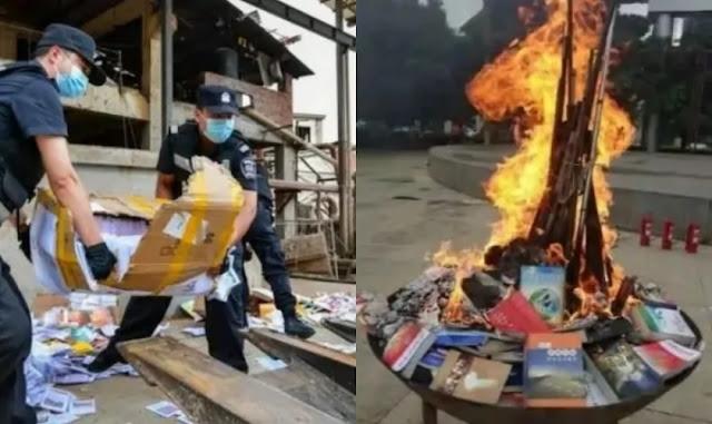 """Livros religiosos são queimados publicamente na China para """"educar as massas"""""""