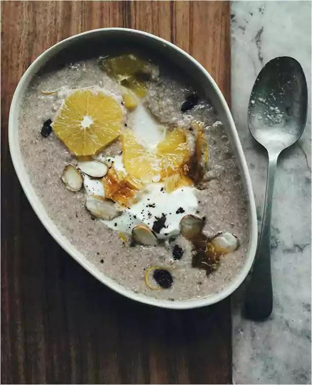 Orange-spiced quinoa porridge with honey pepper yoghurt