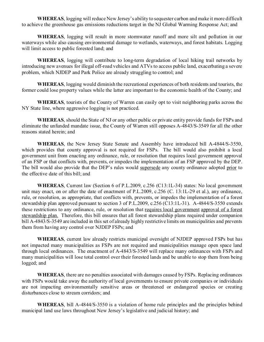 2021 Warren County NJ Resolution opposing Forest Management Plans Page 2