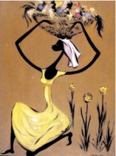 Negrita con canasta de flores, 1956