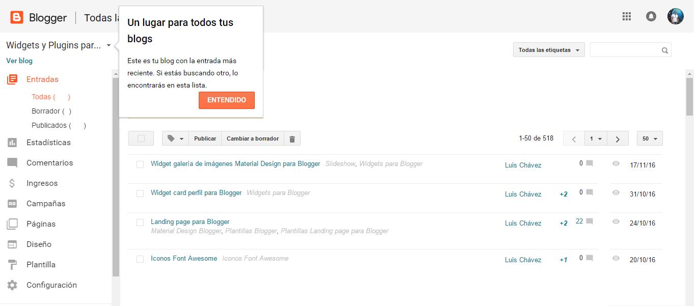 Nueva actualización en la plataforma de Blogger.com