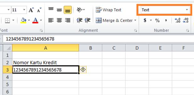 Cara Input Nomor 16 Digit atau Lebih pada Excel