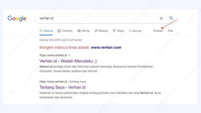 klik menu setelan pencarian chrome