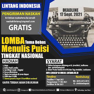 LOMBA CIPTA PUISI TINGKAT NASIONAL LINTANG INDONESIA DEADLINE 17 SEPTEMBER 2021