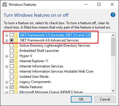 Microsoft .NET Framework 3.5 Windows 10