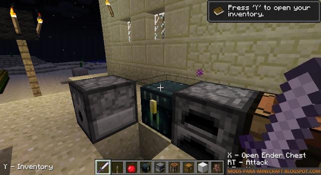 En esta imagen se muestra la vista cuando se juega con un joystick a Minecraft en PC