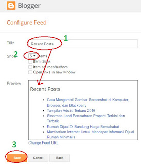 save widget recent posts