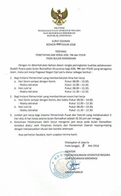 Surat Edaran Menpan nomor 336 tahun 2018 tentang Penetapan Jam Kerja ASN, TNI, dan POLRI pada Bulan Ramadhan